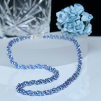 Spiral Necklace in Blue and Silver