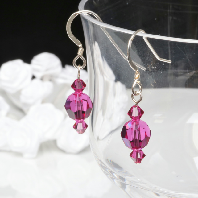 Swarovski  Fuchsia Crystal Earrings with Sterling Silver