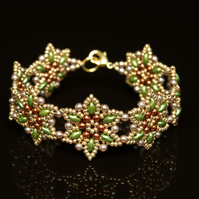 Starflower Cuff Bracelet in Green and Gold
