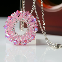 Pink Wheel Pendant with Swarovski Crystals
