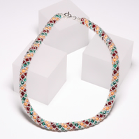 Netted Necklace in Red, Green and Orange