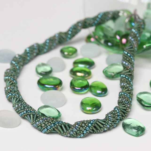 Russian Spiral Necklace in Sage Green
