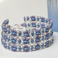 Small Beaded Cuff Bracelet in Denim Blue