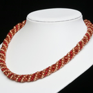 Russian Spiral Necklace in Red, Dark Amber and Gold