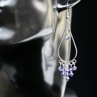 Light Purple (Tanzanite)Teardrop Shaped  Dangly Swarovski Earrings