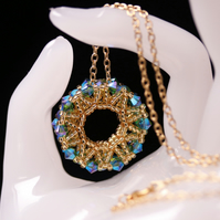Green and Gold Beaded Wheel Pendant with Swarovski Crystals