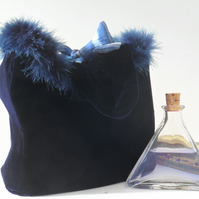 Navy blue velvet bag