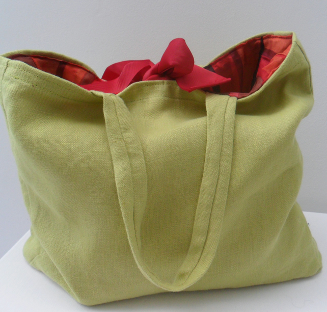 Lime green linen handbag