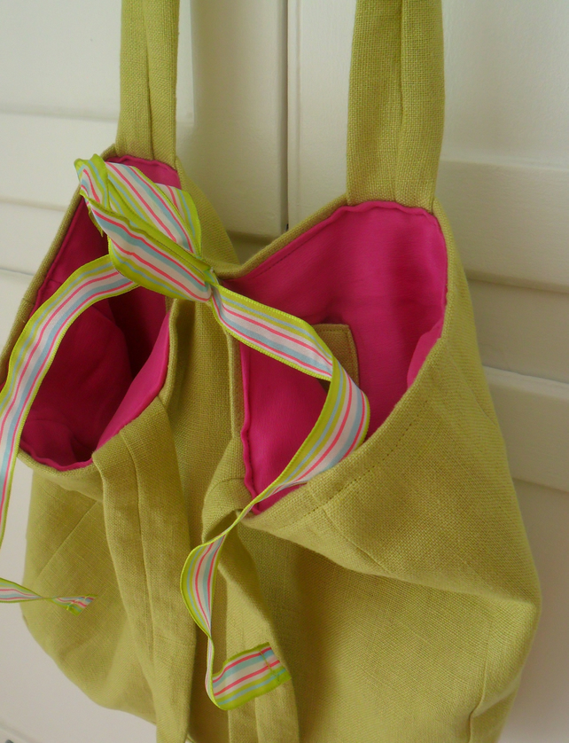 Lime green and cerise handbag