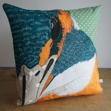 'Mabel' Kingfisher Textile Art machine embroidered cushion.
