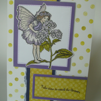 Greetings card - Flower Fairy - Take time to smell the flowers FREE p&p