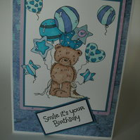 Birthday card - Popcorn Bear 'Smile it's your birthday' hand coloured  FREE p&p