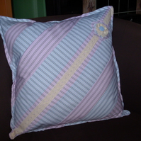 SALE  Patchwork cushion cover - shirt stripe FREE p&p