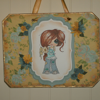 Cute lemon and blue hanger, wall decoration  FREE p&p