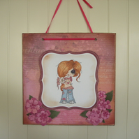 Cute pink character hanger, wall decoration.  FREE p&p