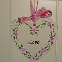 Hanging heart decoration - folk art - Love  FREE p&p