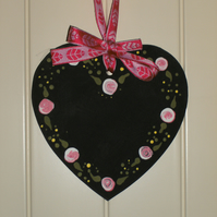 Hanging heart decoration - folk art - Chalkboard FREE p&p