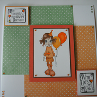 Birthday card - Little girl with balloons FREE p&p