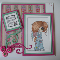 Birthday card, hand coloured - girly 'Wonderful Birthday Wishes' FREE p&p