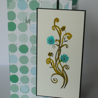 Blank greetings card - hand coloured floral swirl image FREE p&p