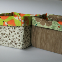 Fabric storage boxes -  set of two - foxes  FREE p&p