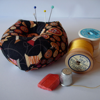 Pincushion - patchwork in neutral buttons and reels fabric  FREE p&p