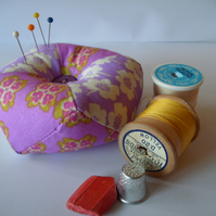 Pincushion - patchwork , biscornu shape in lilac FREE p&p