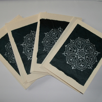 SALE  Note cards - set of 4 - hand stamped mandala design indigo FREE p&p