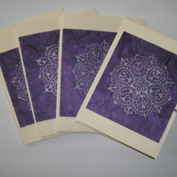 SALE Note cards - set of 4 - hand stamped mandala design purple FREE p&p