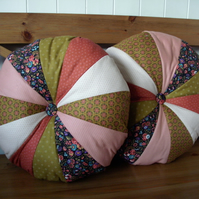 SALE  Patchwork cushions - pair in autumnal tones FREE p&p
