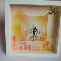 Fairy box frame in citrus colours, hand stamped FREE P & P