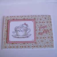 Teacup kitty birthday card, hand stamped, hand coloured Free P and P in UK