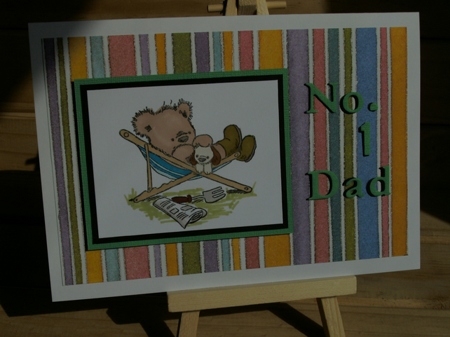 Fathers Day card, cute bear, hand coloured FREE P & P