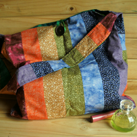 Patchwork bag - Tote style bag in rainbow colours FREE p&p