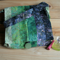 Patchwork bag - messenger style in batik fabric FREE p&p