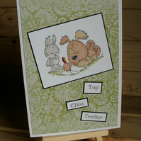 Top Class Teacher hand coloured Thank you card Free P & P