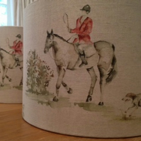 Lampshade in Horse and Hound Fabric - Handmade 30cm
