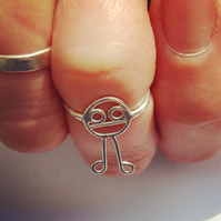 A sterling silver ring designed from a childs drawing. Jewellery from kids art