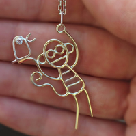 A solid 9ct gold pendant with sterling silver bird designed from childrens art.