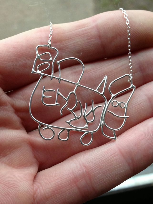 Emilys train. A sterling silver pendant for a childs first drawing