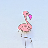 Pretty Flamingo. A handmade Flamingo brooch made with metal and resin.