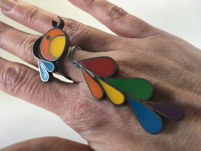 Statement handmade Rainbow bird ring, made in brass, silver and resin