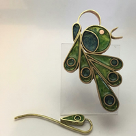 Statement peacock brooch pendant. Resin and metal. Award winning design