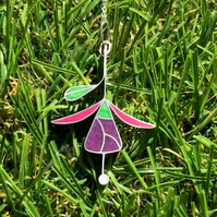 Fuchsia and Leaf pendant in Silver and Resin.