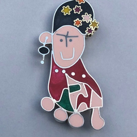 Frida Kahlo brooch from a childs drawing in silver and resin.