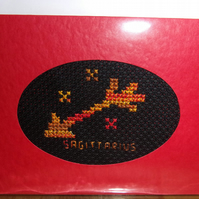 Handmade Charity Cross Stitch Card - Zodiac Sign - Sagittarius