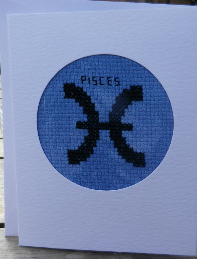 Handmade Charity Cross Stitch Card - Zodiac Sign - Pisces