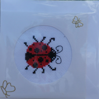 Handmade Charity Cross Stitch Card - Cute Ladybird