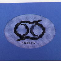 Handmade Charity Cross Stitch Card - Zodiac Sign - Cancer