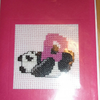 Handmade Charity Cross Stitch Card - Cute Panda with Letter D